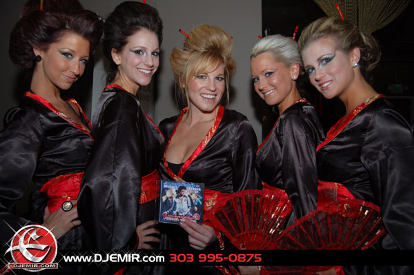 DJ Emir Michael Jackson Mixtape Fans in Geisha Kimonos at Club Vinyl Denver Colorado