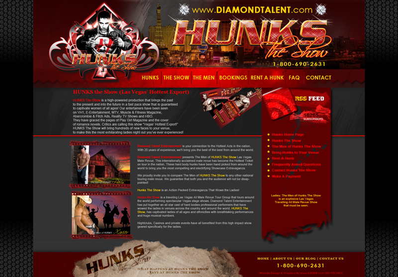 Hunks The Show All Male Revue Show Website Design Preview