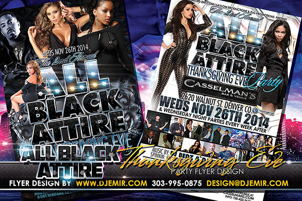 All Black Attire Thanksgiving Eve Nightclub Flyer Design 2014 Denver Colorado