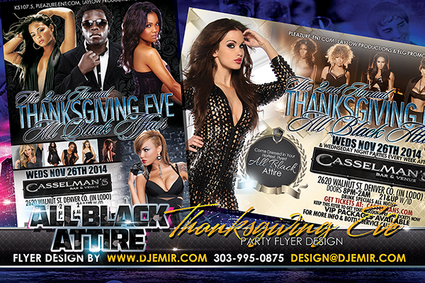 All Black Attire Thanksgiving Eve Nightclub Flyer Design Denver Colorado