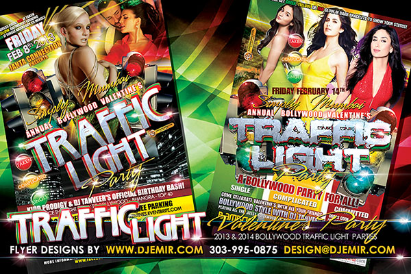 Traffic Light Bollywood Valentine's Day Party Flyer Design