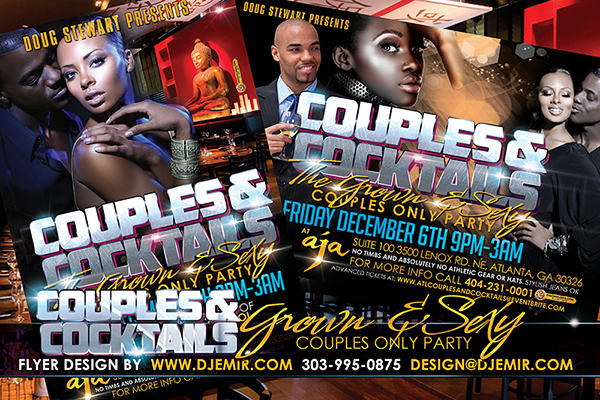 Couples and Cocktails Grown And Sexy Flyer Design