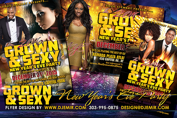 Grown And Sexy New Years Eve Flyer Design