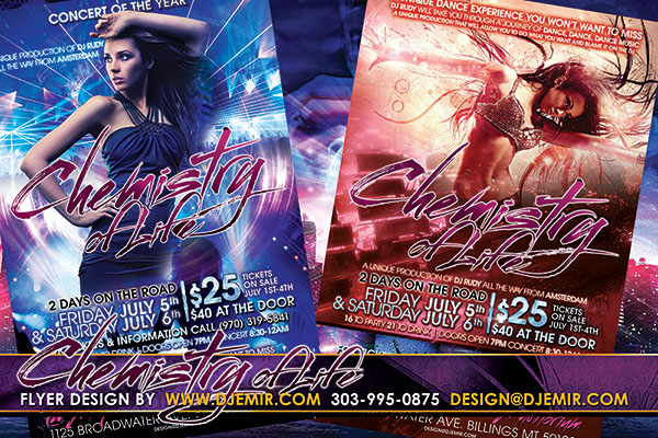 Chemistry of Life 4th of July Weekend EDM Party Flyer design