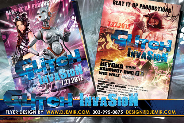 Glitch Invasion EDM Party Flyer Design