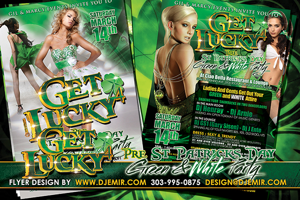 Get Lucky 4 Pre St Patrick's Day Green And White Themed Party Flyer Design