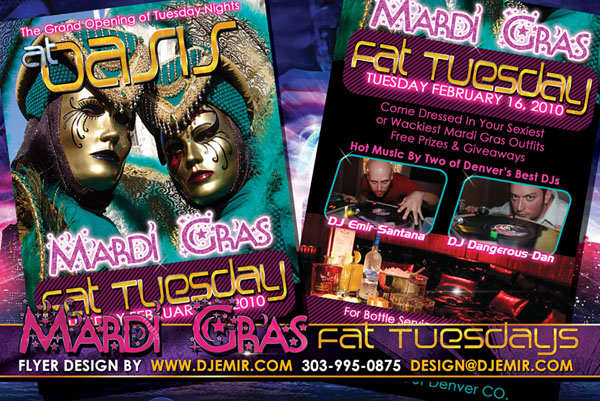 Mardi Gras Fat Tuesday Party Flyer Design Oasis Nightclub Denver, Colorado