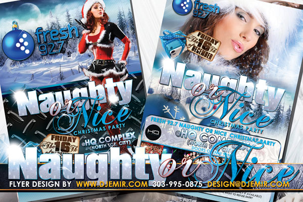 Naughty or Nice Christmas Party Flyer Design