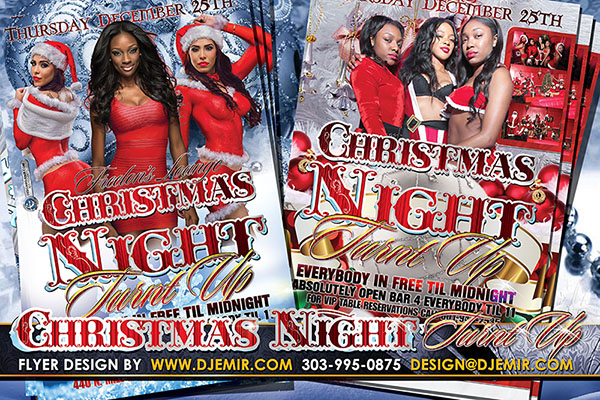 Christmas Night Turnt Up Christmas Eve Party Flyer Design