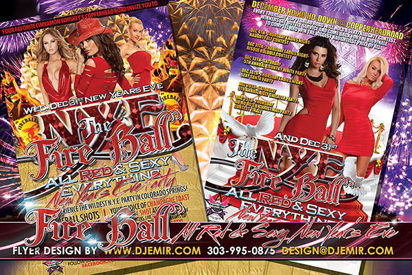 NYE Fire Ball All Red Everything New year's Eve Party Flyer Design