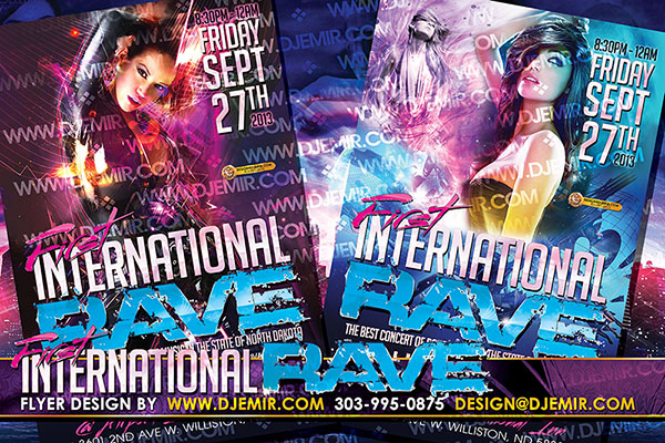First International Rave Flyer design and Poster Design