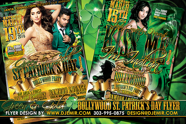 Kiss me I'm indian Green And Gold Bollywood St Patrick's Day Party