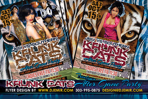 Krunk Cats JSU Vs Southern Football Game After party Flyer design