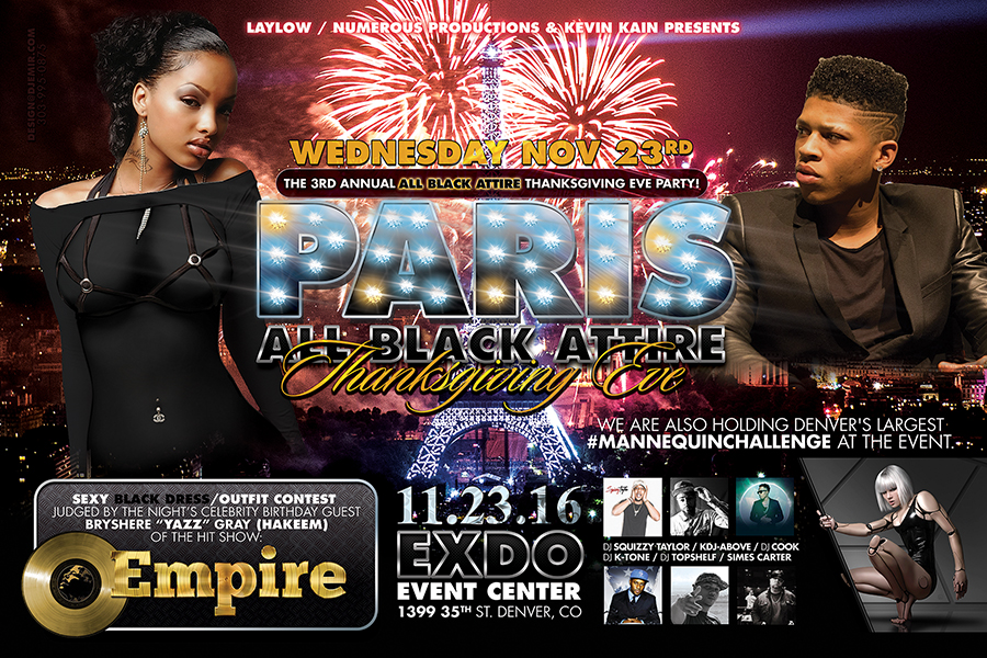 Paris All Black Attire Thanksgiving Eve Flyer with Bryshere Yazz Gray Hakeem from The TV Show Empire