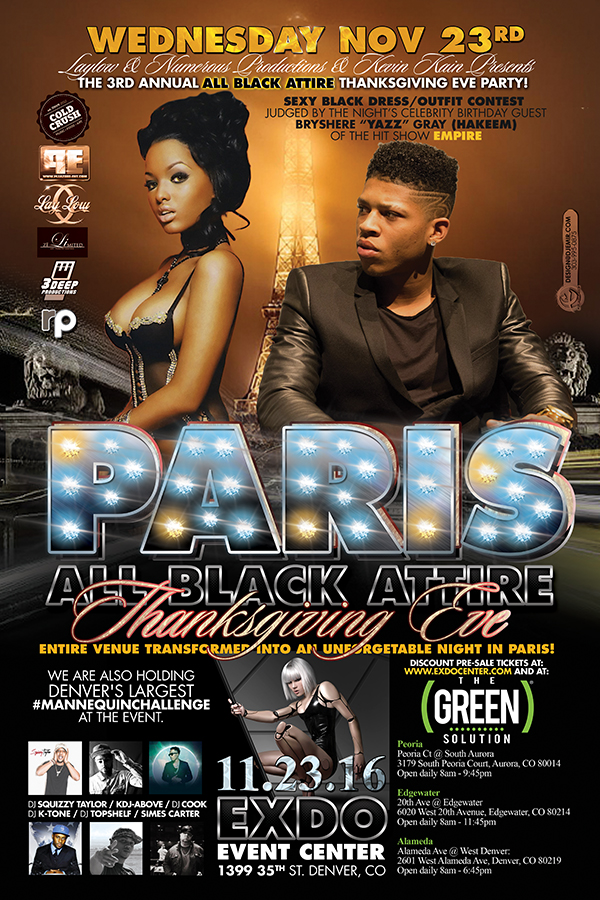 Paris All Black Attire Thanksgiving Eve Flyer with Bryshere Yazz Gray Hakeem from The TV Show Empire judging all black attire contest