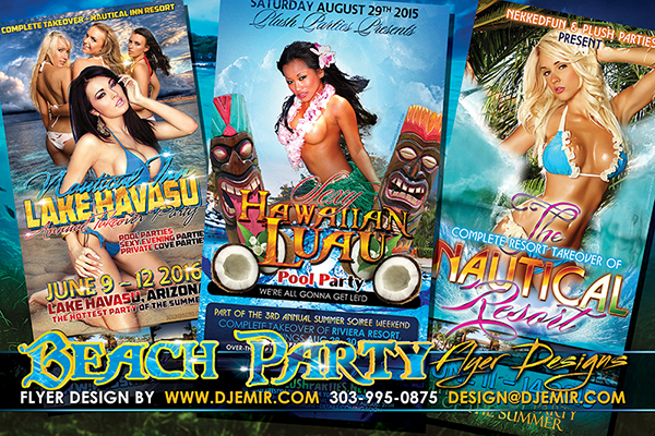 Pool Party Beach Party and Hawaiian Luau Party Flyer Designs and Poster Designs