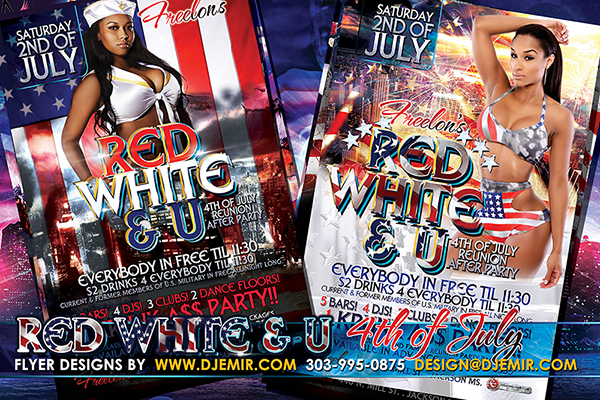 Red White And U 4th of July Independence Day Party Flyer Design 2016 Jackson MS