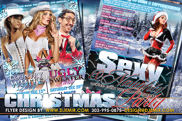 Country White Christmas Ugly sweater party and sexy and naughty santa party flyer designs