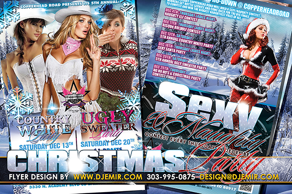 Country White All White Party Sexy and Naughty Santa and Ugly Sweater Party Flyer Designs V2