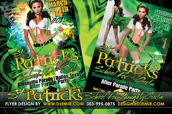 School For Naughty Girls St. Patrick's day Flyer Design