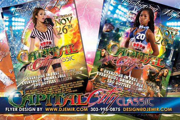 Capitol City Classic Thanksgiving Football Game After Party Flyer Design