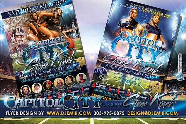 Capitol City Classic Gone Krunk Thanksgiving Weekend Football Game After Party Flyer Design