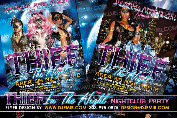 Thief In The Night Themed Nightclub Party Flyer Design