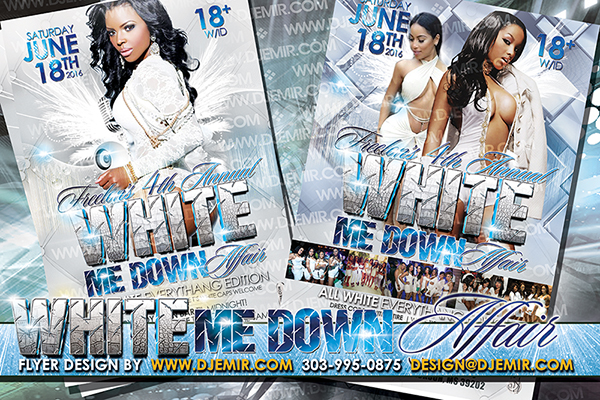 White Me Down All White Affair Flyer Design