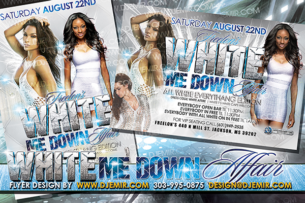 White Me Down All White Affair Flyer Design August Edition