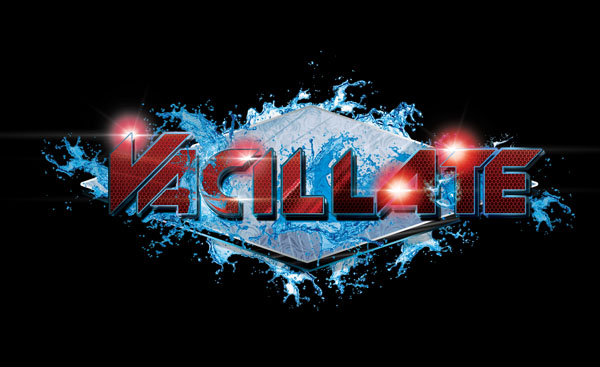 DJ Vacillate Logo Design Red On Silver With Blue Water Splash