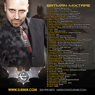 DJ Emir Batman Mixtape Insert Back