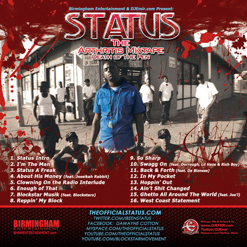Status Arthritis Mixtape CD mixed and Hosted By DJ Emir (Mixtape Cover Back)