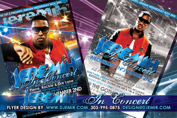 Amazing Flyer Designs Jeremih Concert at Gothic Theatre Denver Colorado Flyer Design