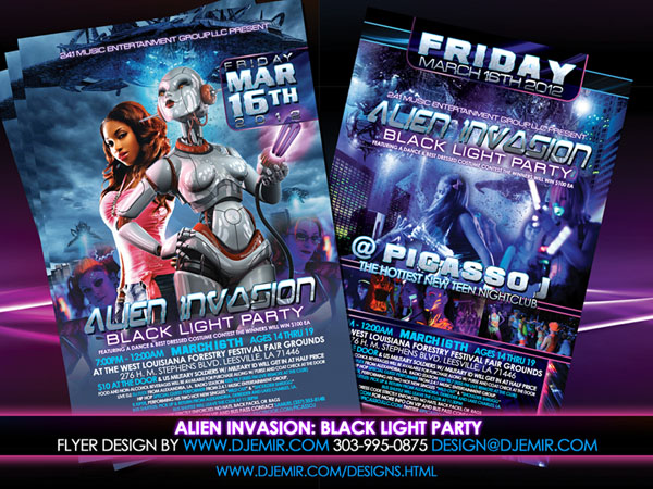 Amazing Flyer Designs Alien InVasion Black Light Teen Party Flyer Design