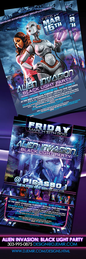 Amazing Flyer Designs Alien Invasion BlackLight Teen Party Flyer Vertical3x9
