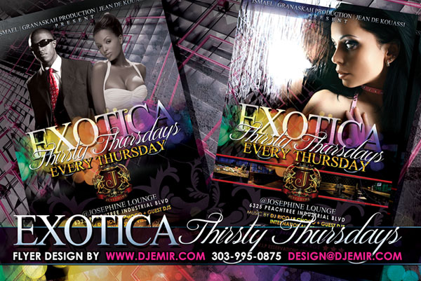 Amazing Flyer Designs Exotica Thirsty Thursdays Atlanta GA