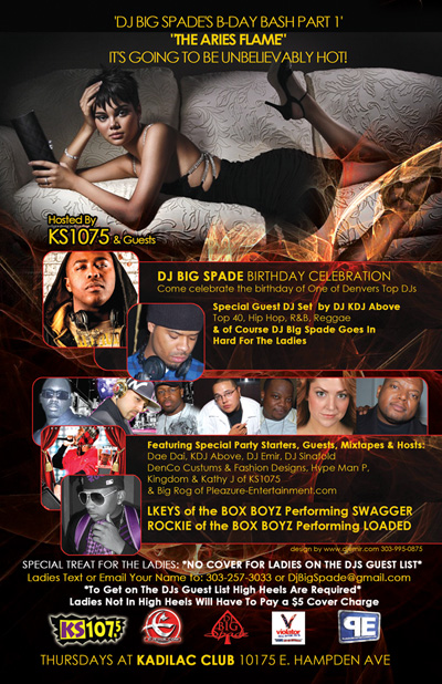 Aries Flame Back of Flyer Design for DJ Big Spade Birthday Party