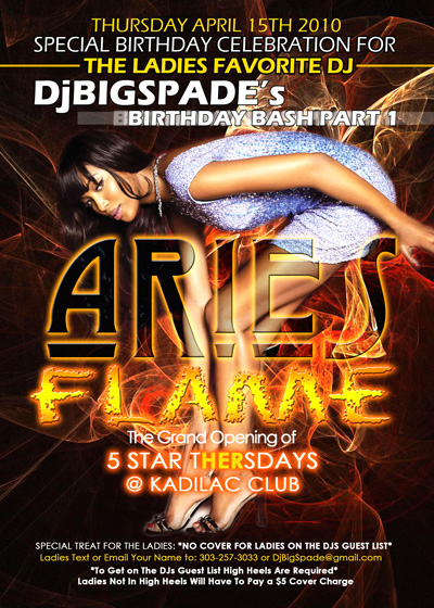 Aries Flame Flyer Design for DJ Big Spade Birthday Party