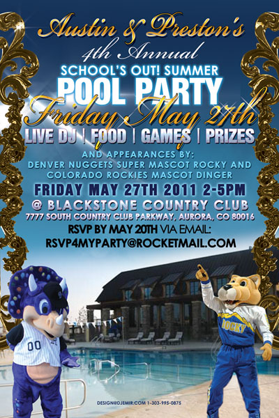 School's Out Pool Party Flyer Design Blackstone Country Club featring Team Mascots Dingerof Colorado Rockies and Rocky of Denver Nuggets Back