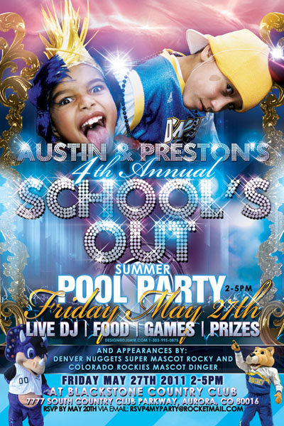 School's Out Pool Party Flyer Design Blackstone Country Club featring Team Mascots Dingerof Colorado Rockies and Rocky of Denver Nuggets