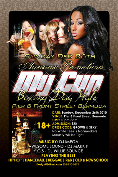 Nightclub Flyer Design for My Cup Boxing Day Christmas Party Hip Hp Dancehall Reggae
