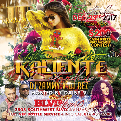 Kaliente Saturdays Latin Night Ugly Sweater Christmas Party Flyer Design