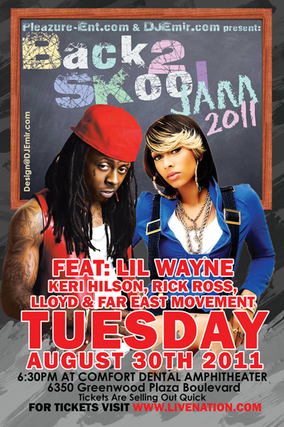 Back to School Jam Flyer design for KS1075 Back2Skool Jam 2011 feat Lil Wayne Keri Hilson Rick Ross LLoyd and Far East Movement