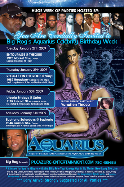 Flyer design for Big Rog Aquarius Birthday Party Week