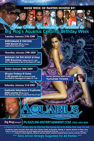 Big Rog's Aquarius Birthday Party Week Flyer Design Front