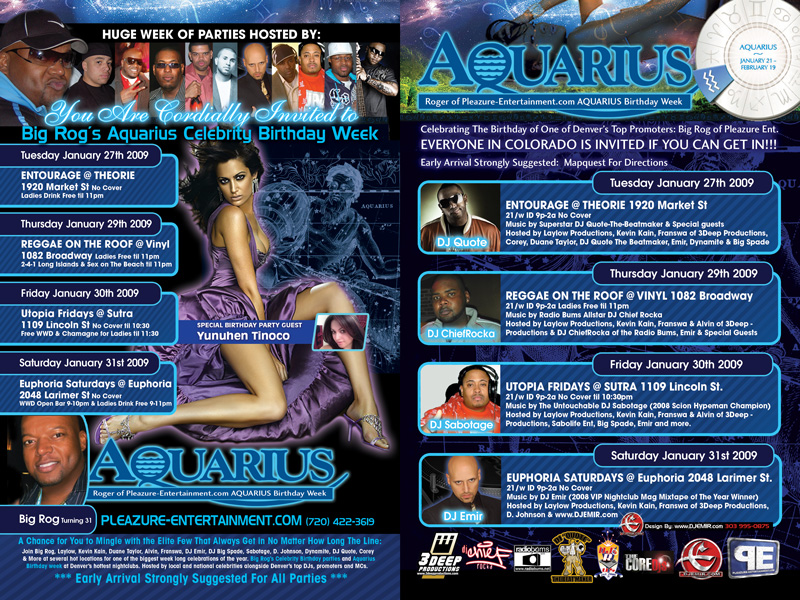 Big Rog's Aquarius Birthday Party Week Flyer Design Denver