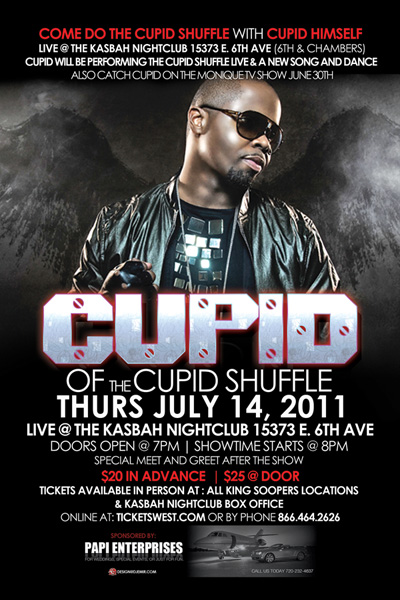 Flyer design for Cupid Shuffle Concert at Kasbah Thursday July 14th