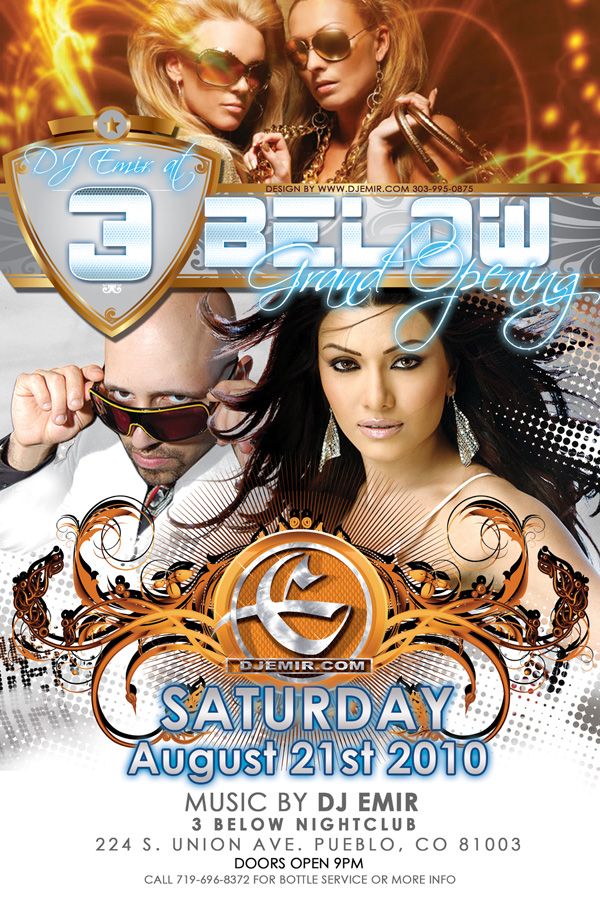Flyer Design Grand Opening of 3 Below Nightclub Pueblo CO with DJ Emir