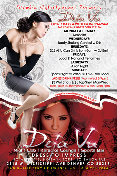 Deja Vu Nightclub Weekly Schedule Flyer Design