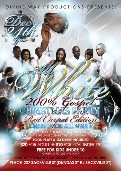 Divine Way All White Christmas Party Flyer Design